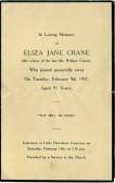 Memorial Card, Eliza Crane