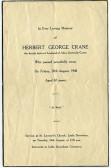 Memorial card, Herbert Crane