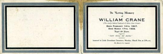 Memorial Card, William Crane.