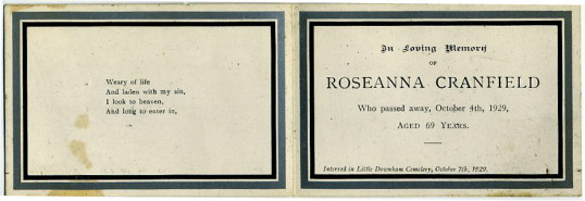 Memorial Card, Roseanna Cranfield.
