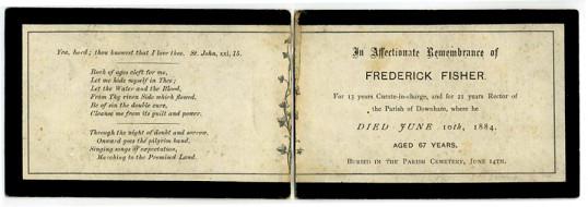 Memorial Card, Frederick Fisher.