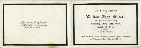 Memorial Card, William Gilbert.
