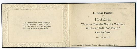 Memorial Card, Joseph Harrison.