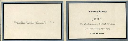 Memorial Card, John South