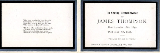 Memorial Card, James Thompson.