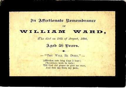 Memorial Card, William Ward.