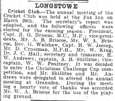 Cricket Club AGM from 1930