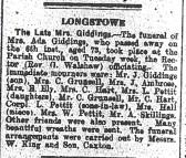 Giddings:  Obituary of  Mrs Ada Giddings
