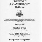 2016.06 Cambridge to Bedford Railway - talk June 28th  2016 Longstowe Village Hall