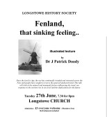 """2017.6 Longstowe History Society Event on  27th June - """"Fenland that sink feeling"""" an illustrated lecture by Dr Patrick Doody"""