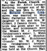 Wedding  in Gamlingay ,report for Alfred Northrop and Betty Gilbert