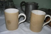 Pint china drinking tankards from the Dumb Flea public house, Chiswick End, Meldreth which closed in 1956