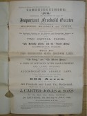 Detail of sale by auction of Lordship and Heath Farms in Meldreth and Melbourn.  One piece of land is next to Elmcroft in Meldreth High Street.