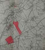 Map showing Lordship and Heath Farms in Meldreth and Melbourn for sale by auction.  One piece of land is next to Elmcroft in Meldreth High Street.