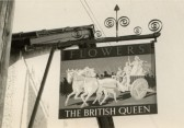 Inn sign of the British Queen Public House, High Street, Meldreth