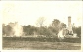 Fire in Station Road, Meldreth.  Four cottages were destroyed.  This is the seventh postcard in a series of eight.
