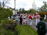 Thaxted Morris Men dancing in Chiswick End, Meldreth on May Day 2000.  Part of the Millennium Celebrations.