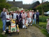 Thaxted Morris Men, Julie & Peter Draper & the Meldreth Millennium Committee outside the Dumb Flea, Chiswick End, Meldreth.