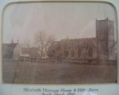 Meldreth Vicarage House and Tithe Barn demolished ~1875.  Associated with the Holy Trinity Church, North End, Meldreth. Photo is in church.