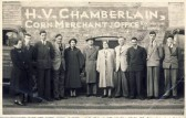 Group of Employees of H V Chamberlain, Corn Merchants, outside The Mill, High Street, Meldreth.