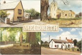 Meldreth village greetings card to commemorate the Queen's Silver Jubilee.  Various views of the village from the High Street to North End.