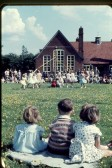 May Day celebrations held at Meldreth Primary School, showing Keith Saunders, Julie & Elaine Handscombe in the foreground.