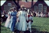 May Day celebrations.  May Queen, Gillian Fleet arrives at the Primary School, High Street, Meldreth to be crowned.