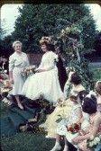 May Queen, Gillian Fleet, crowned by Mrs. Hilton at the Primary School, High Street, Meldreth.