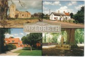 Multiview postcard of Meldreth, showing Holy Trinity Church, the British Queen, Meldreth Primary School and the stocks