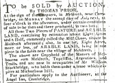 "An advertisement in the Cambridge Chronicle for an auction of land ""commonly called the Mill Closes"" in Meldreth, leased by William Stockbridge"