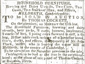 An advertisement in the Cambridge Chronicle for an auction of Mr John Flack's property when he was leaving Topcliffe Mill, North End, Meldreth