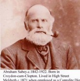 Abraham Sabey 1842-1922. Worked as coprolite digger and lived in High Steet, Meldreth.