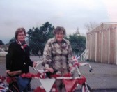 Joan Gipson and Mary Course with their decorated tandem for the Queen's Jubilee parade.