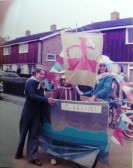 Chare, Louise and Charles Walford with their entry for  the Queen's Jubilee parade.