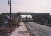 Construction of the new road bridge in Station Road, Meldreth during work on the Melbourn Bypass.
