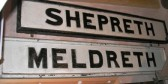Old Meldreth and Shepreth station signs.