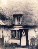 Lily Jacklin outside her cottage in Chiswick End, Meldreth. (Recently the home of the Middlemass family)