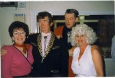 Jane Bates, Ian Braid, Alan Bates and Wendy Braid of Meldreth at 50's night in early 1990's.