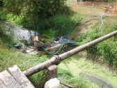 Damming the Catchwater drain for maintenance, Mepal