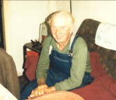 Alf Wilson in his cottage, Low Bank, Mepal