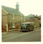 Michael Braysher's butcher's van outside his house and shop in High Street, Orwell.