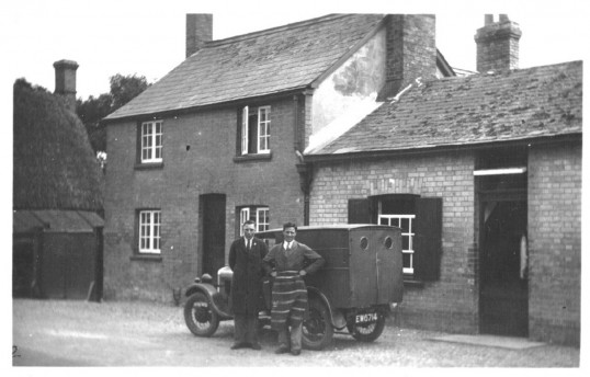 Oliver's butcher's shop,High Street ,Orwell ,about 1930. Butcher's shop