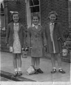 Pauline Northrop (Howlett), Susan Knebel (Miller) and Shirley Lambert (Robinson). Orwell Methodist Church Sunday School outing to Clacton 1954. Orwell Methodist Church Sunday School outing 1954