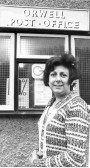 Mrs. Judith Taylor, Orwell Post Mistress in 1977. The Post Office was in an outbuilding belonging to No. 20 High Sgtreet, Orwell.