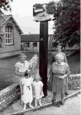 Peggy Miller, Barbara Brown, Sarah & Helen Kenyon & sign maker Stephen Harris at the Orwell Village Sign unveiling. Sign design - Norman Summers..