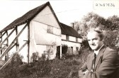 """Keith Hodkinson at cottages in Town Green Road, Orwell - now known as """"Barnard's House""""."""