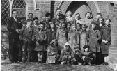 A Methodist Sunday School group in front of Orwell Methodist Church, Town Green Road,