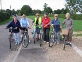 Orwell Women's Institute members taking part in the W.I. Triathlon on bicycles, Malton Road, Orwell