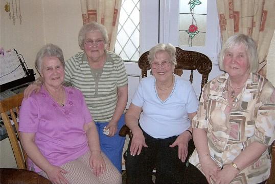 Jean Rodaway nee Hannah of Pymoor celebrating her 40th wedding anniversary  with her sisters.