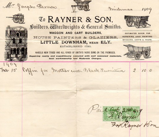 Bill for a coffin for Joseph Brown's mother of Pymoor.